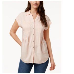 NEW NWT Style & Co Pleated Cuffed-Sleeve Top L